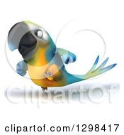Clipart Of A 3d Blue And Yellow Macaw Parrot Running To The Left Royalty Free Illustration by Julos