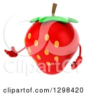 Clipart Of A 3d Strawberry Character Presenting Royalty Free Illustration by Julos
