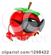 Clipart Of A 3d Strawberry Character Facing Right Wearing Sunglasses And Looking Down Royalty Free Illustration by Julos