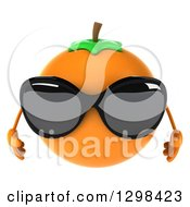 Clipart Of A 3d Navel Orange Character Wearing Sunglasses Royalty Free Illustration by Julos