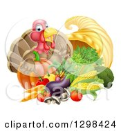 Cute Turkey Bird Giving A Thumb Up Over A Pumpkin And Harvest Cornucopia