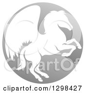 Clipart Of A Silhouetted Rearing Pegasus Winged Horse In A Shiny Gray Circle Royalty Free Vector Illustration by AtStockIllustration