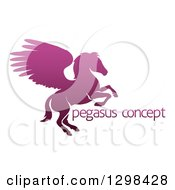 Clipart Of A Silhouetted Gradient Purple Rearing Pegasus Winged Horse And Sample Text Royalty Free Vector Illustration by AtStockIllustration