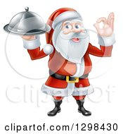 Christmas Clipart Of A Happy Santa Claus Gesturing Ok And Holding A Food Cloche Platter Royalty Free Vector Illustration