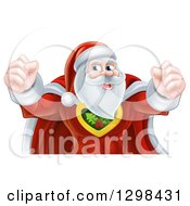 Clipart Of A Super Hero Santa Claus Flexing His Biceps Royalty Free Vector Illustration
