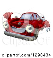 Clipart Of A Happy Cartoon Red Car Character Holding A Wrench And Thumb Up Royalty Free Vector Illustration