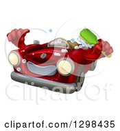 Red Convertible Car Character Holding A Thumb Up And A Scrub Brush