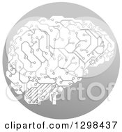 Circuit Board Artificial Intelligence Brain In A Gray Circle