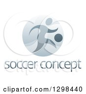 Clipart Of A Soccer Player In Action Inside A Shiny Circle Over Sample Text Royalty Free Vector Illustration