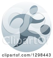 Clipart Of A Soccer Player In Action Inside A Shiny Circle Royalty Free Vector Illustration