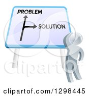 Clipart Of A 3d Silver Man Looking Up At Problem And Solution Sign Royalty Free Vector Illustration by AtStockIllustration
