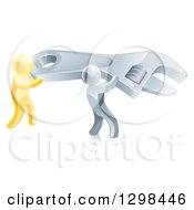 Clipart Of A 3d Silver And Gold Men Working Together And Carrying A Large Adjustable Wrench Royalty Free Vector Illustration