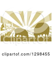 Clipart Of A Sunrise Over A Cottage Farm House With Two Sheep And Fields Royalty Free Vector Illustration