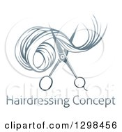 Clipart Of Gradient Scissors Cutting Hair Over Sample Text Royalty Free Vector Illustration