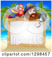 Clipart Of A Hook Handed Pirate Captain With A Parrot Over A Blank Sign On A Tropical Beach Royalty Free Vector Illustration