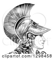 Black And White Engraved Greek Warrior Woman Athena Hera Or Britannia In Profile