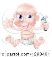 Clipart Of A Happy Bald Blue Eyed Caucasian Baby Boy Sitting In A Diaper And Holding A Hammer Royalty Free Vector Illustration