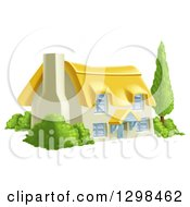 Clipart Of A Thatched Roof Cottage Farm House With Shrubs Royalty Free Vector Illustration