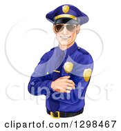 Clipart Of A Happy Caucasian Male Police Officer With Folded Arms Wearing Sunglasses And Smiling Tilted Slightly Left Royalty Free Vector Illustration