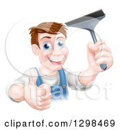 Happy Middle Aged Brunette Caucasian Window Cleaner Man Giving A Thumb Up And Holding A Squeegee