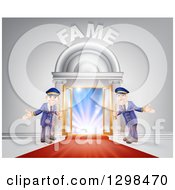 Clipart Of A VIP Venue Entrance With Welcoming Friendly Doormen Red Carpet And Fame Text Royalty Free Vector Illustration by AtStockIllustration