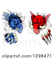 Clipart Of A Political Aggressive Democratic Donkey And Republican Elephant Tearing Through A Wall Royalty Free Vector Illustration by AtStockIllustration