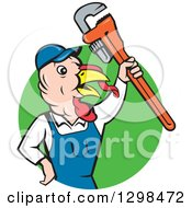 Clipart Of A Cartoon Turkey Bird Plumber Worker Man Holding Up A Monkey Wrench In A Green Circle Royalty Free Vector Illustration by patrimonio