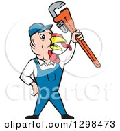 Clipart Of A Cartoon Turkey Bird Plumber Worker Man Holding Up A Monkey Wrench Royalty Free Vector Illustration by patrimonio
