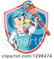 Clipart Of A Cartoon Turkey Bird Plumber Worker Man Holding Up A Monkey Wrench In A Red White And Blue Shield Royalty Free Vector Illustration
