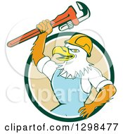 Clipart Of A Cartoon Bald Eagle Plumber Man Holding Up A Monkey Wrench In A Green White And Tan Circle Royalty Free Vector Illustration