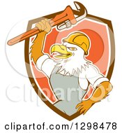 Clipart Of A Cartoon Bald Eagle Plumber Man Holding Up A Monkey Wrench In A Brown White And Orange Shield Royalty Free Vector Illustration