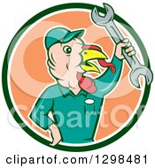 Clipart Of A Cartoon Turkey Bird Worker Mechanic Man Holding Up A Wrench In A Green White And Peach Circle Royalty Free Vector Illustration by patrimonio