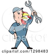 Clipart Of A Cartoon Turkey Bird Worker Mechanic Man Holding Up A Wrench Royalty Free Vector Illustration