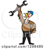 Clipart Of A Cartoon Turkey Bird Worker Mechanic Man Holding Up A Wrench Tool Royalty Free Vector Illustration