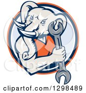 Clipart Of A Retro Woodcut Muscular Elephant Man Mechanic Holding A Wrench In An Orange Blue And White Circle Royalty Free Vector Illustration