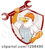 Clipart Of A Cartoon Bald Eagle Mechanic Man Holding Up A Wrench In A Maroon White And Taupe Shield Royalty Free Vector Illustration