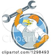 Clipart Of A Cartoon Bald Eagle Mechanic Man Holding Up A Wrench In A Blue And White Circle Royalty Free Vector Illustration