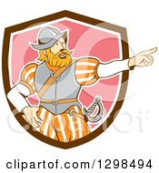 Retro Cartoon Spanish Conquistador Pointing In A Brown White And Pink Shield