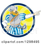 Clipart Of A Cartoon Spanish Conquistador Pointing In A Blue White And Yellow Circle Royalty Free Vector Illustration