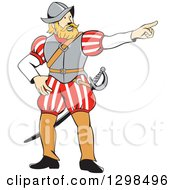 Clipart Of A Cartoon Spanish Conquistador Pointing Royalty Free Vector Illustration
