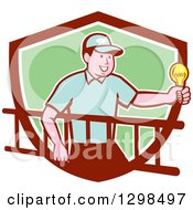 Clipart Of A Retro Cartoon White Male Electrician Carrying A Ladder And Holding A Light Bulb In A Maroon White And Green Shield Royalty Free Vector Illustration by patrimonio