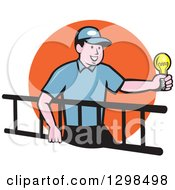 Clipart Of A Cartoon White Male Electrician Carrying A Ladder And Holding A Light Bulb Over An Orange Circle Royalty Free Vector Illustration by patrimonio