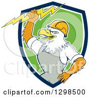 Clipart Of A Cartoon Bald Eagle Electrician Man Holding A Bolt In A Blue White And Green Shield Royalty Free Vector Illustration