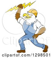 Clipart Of A Cartoon Bald Eagle Electrician Man Holding A Bolt Royalty Free Vector Illustration