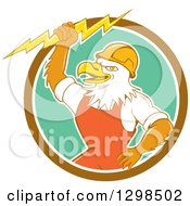 Clipart Of A Cartoon Bald Eagle Electrician Man Holding A Bolt In A Brown White And Turquoise Circle Royalty Free Vector Illustration