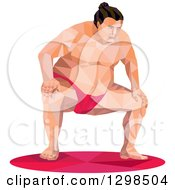 Clipart Of A Low Poly Squatting Sumo Wrestler Royalty Free Vector Illustration by patrimonio
