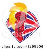 Clipart Of A Red Hand Holding Up A Torch In A British Flag Shield Royalty Free Vector Illustration