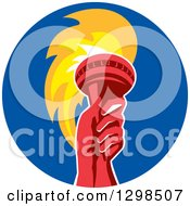 Clipart Of A Red Hand Holding Up A Torch In A Blue Circle Royalty Free Vector Illustration