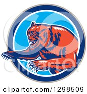 Clipart Of A Retro Woodcut Vicious Grizzly Bear Emerging From A Taupe Blue And White Circle Royalty Free Vector Illustration
