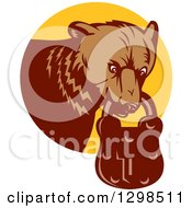 Clipart Of A Retro Woodcut Grizzly Bear With A Padlock In His Mouth Emerging From A Yellow Circle Royalty Free Vector Illustration